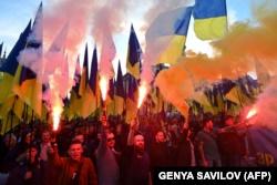 Під час акції «Ні капітуляції!». Київ, 14 жовтня 2019 року