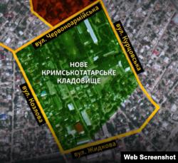 Графіка. Межі нового кримськотатарського цвинтаря Сімферополя