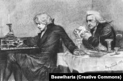 Моцарт і Сальєрі. Малюнок художника Михайла Врубеля 1884 року