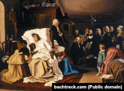 Картина Г. фон Кальбаха «Останні дні життя Моцарта», 1873 рік. Маленький Франц Ксавер, якому чотири місяці, лежить в яслах