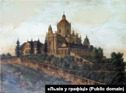 Cобор Святого Юра у Львові, як він виглядав в часи, коли в місті мешкав Франц Ксавер Моцарт. Літографія Карла Ауера. Видано у Львові в середині 19-го століття
