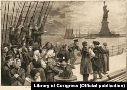 Прибуття емігрантів зі Східної Європи до Америки. Ілюстрація американської газети Frank Leslie's Illustrated Newspaper, 1887 рік