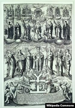 Гравюра «Мазепа в оточенні добрих справ», 1705 рік. Автор: Іван Мигура